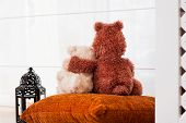 Two Embracing Loving Teddy Bears Sitting On Window-sill. Love And Friendship.