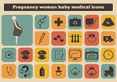 picture of belly-button  - set of healthcare medical woman pregnancy baby icons - JPG