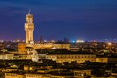 Night view over Palazzo Vecchio at twilight