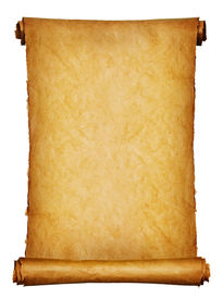 stock photo of treasure map  - Vintage roll of parchment background isolated on white - JPG