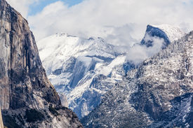 pic of granite dome  - Yosemite National Park granite cliffs rivers waterfalls domes and the beautiful landscape formed by glacier. A Must see travel destination.