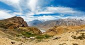 stock photo of himachal pradesh  - Panorama of Spiti valley in Himalayas - JPG