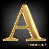 Golden shining metallic 3D symbol capital letter A - uppercase, vector EPS8