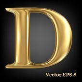 Golden shining metallic 3D symbol capital letter D - uppercase, vector EPS8