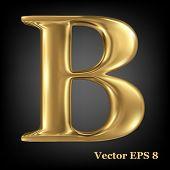 Golden shining metallic 3D symbol capital letter B - uppercase, vector EPS8