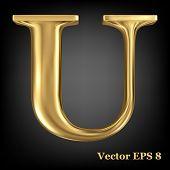 Golden shining metallic 3D symbol capital letter U - uppercase, vector EPS8