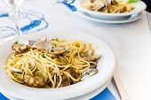 picture of italian parsley  - Typicall Italian spaghetti style with vongole and parsley - JPG