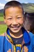 Mongolian boy with a beautiful smile.