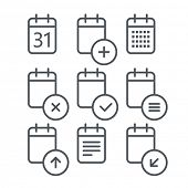 Different calendar icons set with rounded corners. Design elements