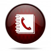 phonebook red glossy web icon on white background