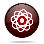 atom red glossy web icon on white background