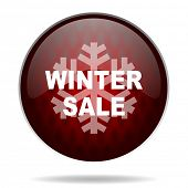 winter sale red glossy web icon on white background