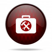 toolkit red glossy web icon on white background
