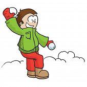 boy throwing snowball cartoon illustration