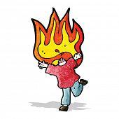 cartoon flaming headless man