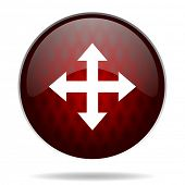 arrow red glossy web icon on white background