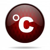 celsius red glossy web icon on white background