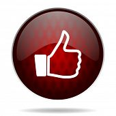 thumbs up red glossy web icon on white background