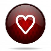 heart red glossy web icon on white background