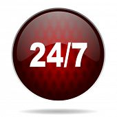 24/7 red glossy web icon on white background