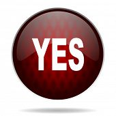 yes red glossy web icon on white background