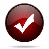 accept red glossy web icon on white background