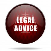legal advice red glossy web icon on white background