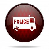police red glossy web icon on white background