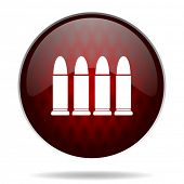 ammunition red glossy web icon on white background