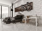 3D Rendering of Modern Loft Style Bedroom in Apartment with Exposed Brick Wall, Desk, and Bicycle Ha