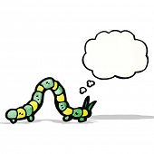 foto of caterpillar cartoon  - cartoon caterpillar with thought bubble - JPG