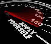 Apply Yourself words on a speedometer or gauge to measure the success level, outcome, results of your try or efforts