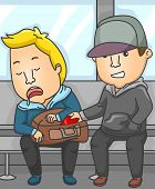 Illustration Featuring a Pickpocket Lifting Wallets in a Subway Train