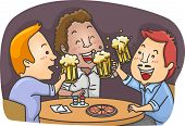 Illustration Featuring Men Drinking Beer in a Pub