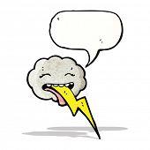 cartoon storm cloud with speech bubble