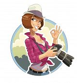 Photographer girl with camera. Eps10 vector illustration. Isolated on white background