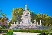 Stone statue in Villa Bonanno public park  on Palazzo Reale,  Palermo, Sicily, Italy.