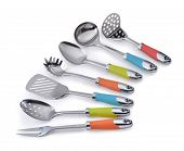 A set of stainless steel kitchenware