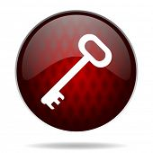 key red glossy web icon on white background