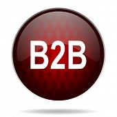 b2b red glossy web icon on white background