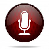 microphone red glossy web icon on white background