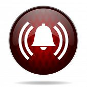 alarm red glossy web icon on white background