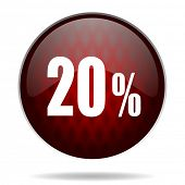 20 percent red glossy web icon on white background