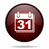 calendar red glossy web icon on white background