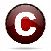 copyright red glossy web icon on white background
