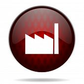 factory red glossy web icon on white background