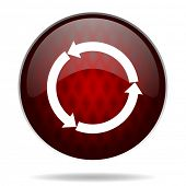refresh red glossy web icon on white background