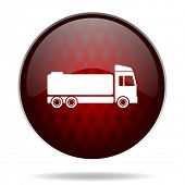 truck red glossy web icon on white background
