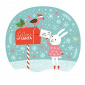Letter for Santa,the cute little rabbit is sending the letters for Santa, Christmas card