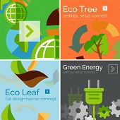 Set of flat design banners and concepts - globe, ecology, eco-friendly electricity, eco leaves